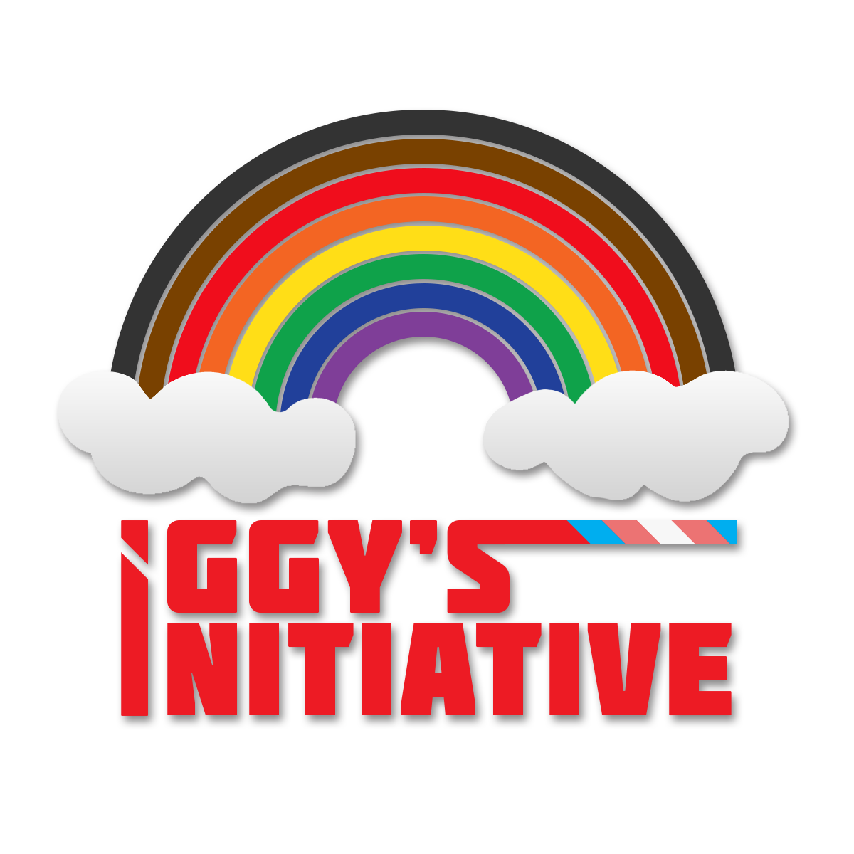 """Logo with PoC-inclusive LGBTQIA+ Pride rainbow bridging two clouds. The words """"Iggy's Initiative"""" are aligned one above the other in red below, with trans pride colours extending out to the right from the final 's' of """"Iggy's"""""""